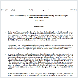 Political declaration setting out the framework