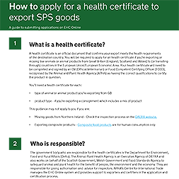How to apply for a health certificate to export SPS goods